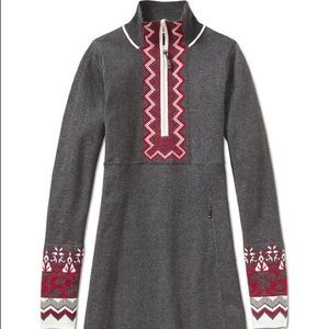 Athleta snowcat fair isle sweater dress grey XXS
